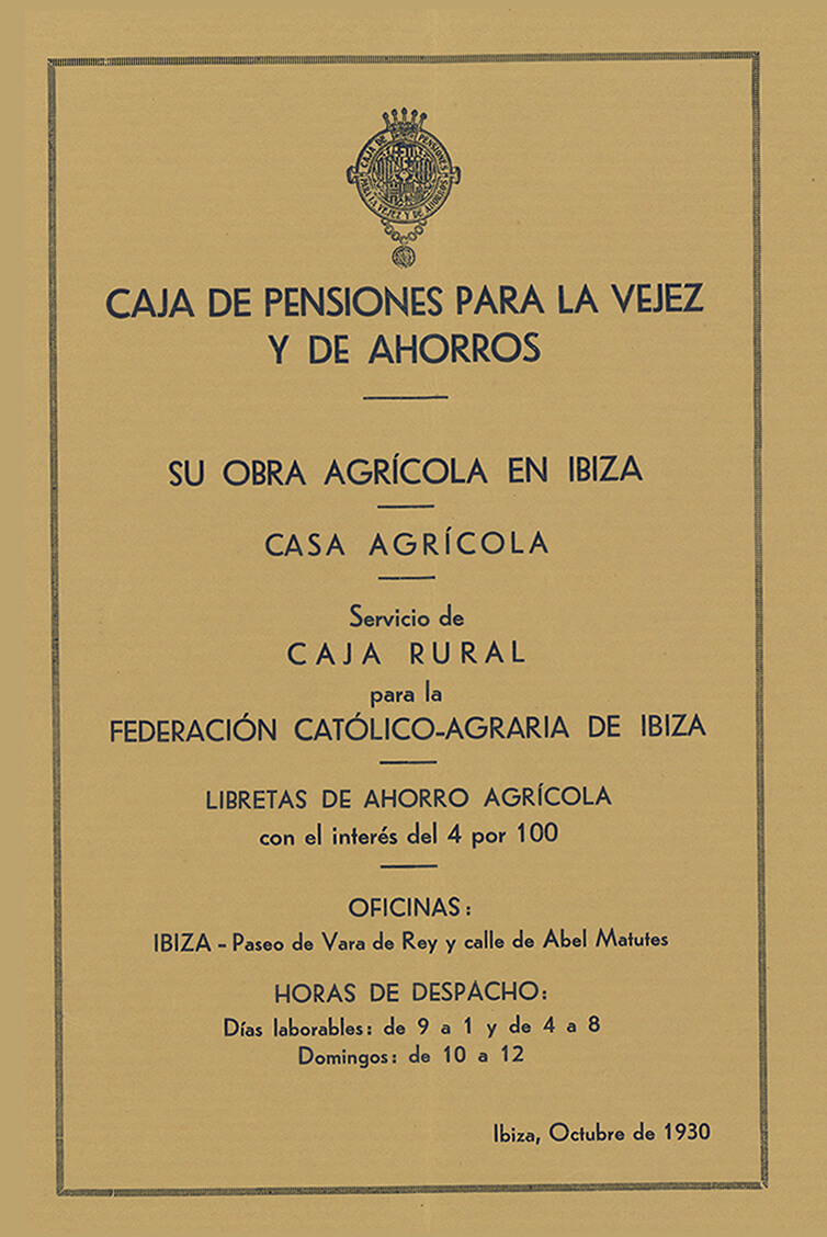 Agreement with the Caja Rural para la Federación Católico-Agraria de Ibiza