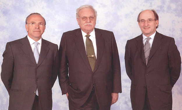 Isidro Fainé, Ricard Fornesa and Antonio Brufau.